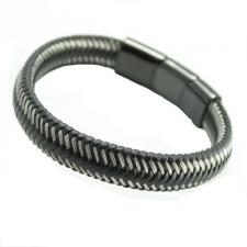 Black Braided Leather w/ Stainless Steel Wire Bracelet