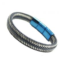 Blue Braided Leather w/ Stainless Steel Wire Bracelet