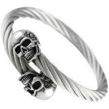 Stainless Steel Twisted Cable Bangle W/ Skull Heads