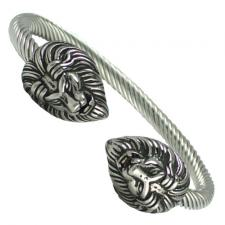 Stainless Steel Cable Wire Double Lion Head Bracelet