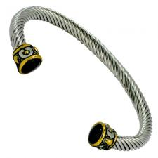 Women's Stainless Steel Two Tone Cable Wire Bracelet