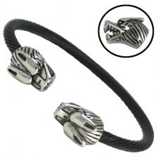 Stainless Steel Black Cable Wire Double Wolf Head Bracelet
