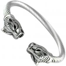 Stainless Steel Bangle W/ Tiger Heads