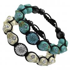 Tibetan Macrame Bracelet with Skull Beads and Pave Ball