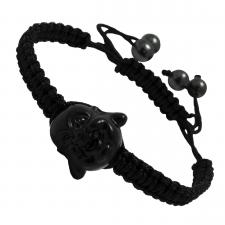 Black Braided Thread Bracelet with Buddha Head