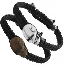 Braided Thread Bracelet with Skull Charm