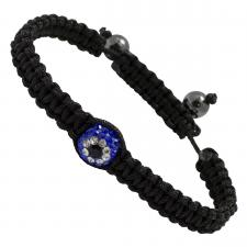 Black Braided Thread with Multi Blue Pave