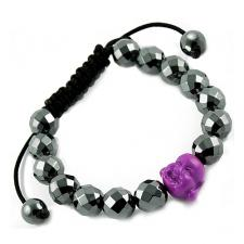 Tibetan Macrame Bracelet with Diamond Cut Hematite and Purple Buddha Beads