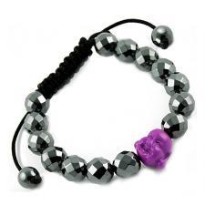Tibetan Macrame Bracelet with Diamond Cut Hematite and Purple Buddha Beads