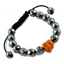 Tibetan Macrame Bracelet with Diamond Cut Hematite and Coral Buddha Beads