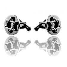 Stainless Steel Cufflinks With Raised Star Of David