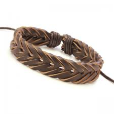 Brown Leather Bracelet with braided Design