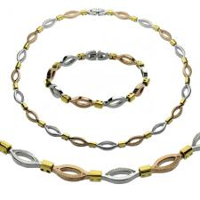 Wholesale Greek 3 Tone Set of Necklace and Bracelet