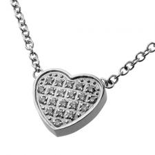 Stainless Steel Necklace with Jeweled Heart Charm
