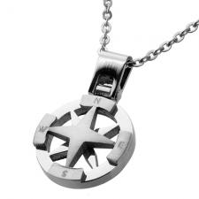Stainless Steel Necklace with Compass Shaped Charm