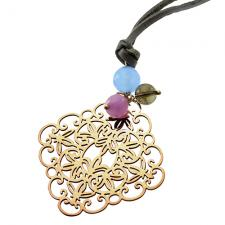 Wholesale Leather Necklace with Rose Charm