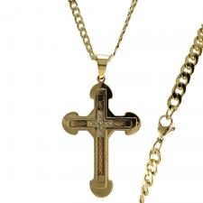 Stainless Steel Gold PVD Double Cross CZ Necklace