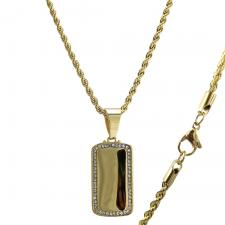 Gold Tone CZ Dog Tag Necklace