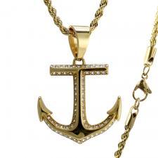 Gold Tone CZ Anchor Necklace