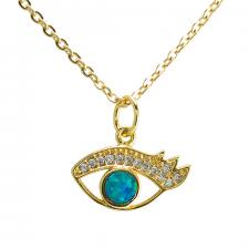 Stainless Steel Gold PVD Necklace with CZ & Faux Opal Evil Eye  Charm