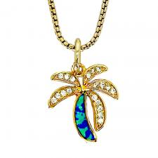 Gold Oval Chain Necklace with Gold Palm Tree With Blue Opal Stone