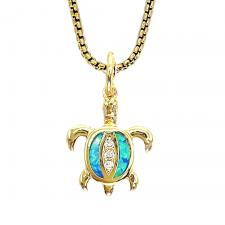 Stainless Steel Gold Chain With CZ Turtle Pendant Charm