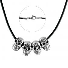 Black Leather Necklace W/ Stainless Steel Skull Heads