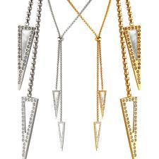 Adjustable Bolo Tie Necklace With Triangular Pendants