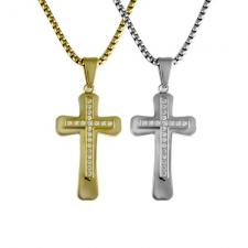 Stainless Steel Cross Pendant w/ Micro Pave Setting Accent & Chain