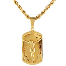 Stainless Steel Gold Pvd Rope Chain w/ Dog Tag Jesus Pendant