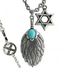 Stainless Steel Mystic Feather Pendant Rolo Chain with Star of David