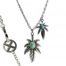 Stainless Steel Marijuana Leaf Pendants with Turquoise Accents in Center On Rolo Chain