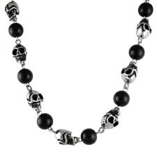 Black Onyx Beads With Steel Skulls Necklace