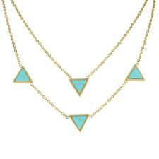 Women's Stainless Steel Gold PVD Turquoise Triangle Stone Necklace