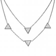Women's Stainless Steel Hipster Four Triangle White Stone Necklace