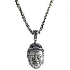Stainless Steel Silver Buddha Necklace