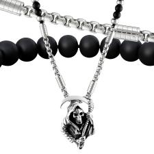 Beaded Necklace Combined W/ Stainless Steel Chain W/ Grim Reaper Pendant