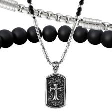 Beaded Necklace Combined W/ Stainless Steel Chain W/ Dog Tag Cross Pendant