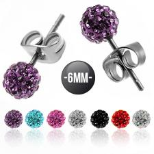 6MM Stainless Steel Earrings With Colored CZ Stones Pave Ball