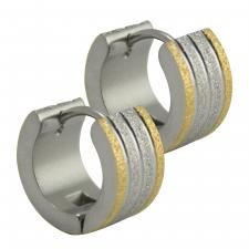Wide Stainless Steel Two Tone Sparkle Huggie Earrings