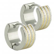 Stainless Steel Two Tone Sandblasted Huggies Earrings