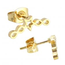 Stainless Steel Gold PVD Infinity Star Earrings