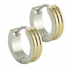 Stainless Steel Two Tone Huggie Hoop Earrings