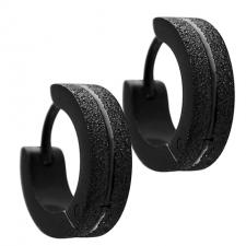 Black Sandblasted Stainless Steel Huggie Earrings