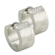 Stainless Steel Huggies with Etched Spiral Design