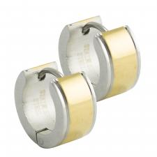 Stainless Steel and Gold PVD Huggie Earrings