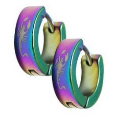 Stainless Steel Huggies Earrings With Scorpion