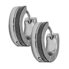 Stainless Steel and Black Huggies Earrings