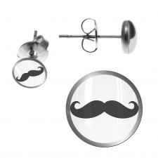 Stainless Steel Earring Stud with Mustache Logo
