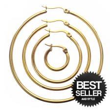 Gold PVD Hoop Earrings in Stainless Steel